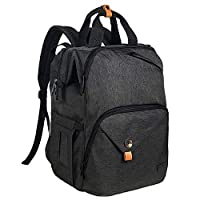 Hap Tim Baby Diaper Bag Backpack Large Capacity Double Compartment with Stroller Straps,Waterproof Nappy Bag Backpack for Newborn Mother/Father(AE7340-DG)