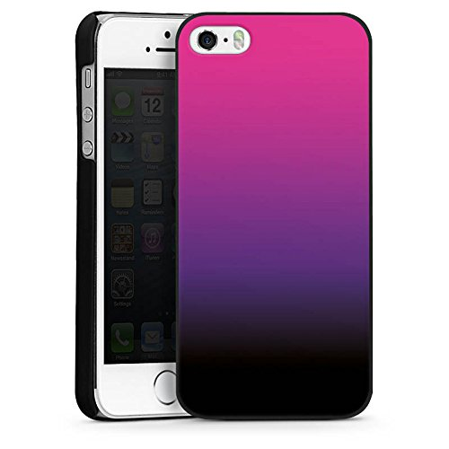 Apple iPhone 5s Housse Étui Protection Coque Rose vif Noir Dégradé de couleur CasDur noir