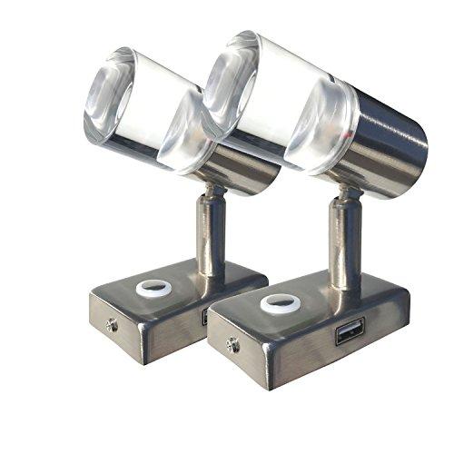 LIGHTEU, 2x A2 LED-Spot, 12 V, 3 W, Decken- / Wandeinbauleuchte mit USB port, Nickel-Finish, Nachttischleuchte, Leselichtkarte Leuchten dreh- und schwenkbar mit Berührungsschalter Dimmbar warmes / Blaues Licht für Boot, Yacht und Caravan, Wohnmobil, Wohnmobil, A ++] (200-decken-beleuchtung)