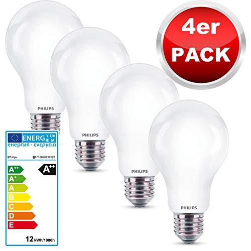 Philips LED Lampe Multipack 4 Stück, ersetzt 100W Leuchtmittel, neutralweißes Licht 4000 Kelvin, LED Glühbirne mit starke 1521 Lumen, Elegantes Matt Glasdesign, spart bis zu 90% Energie, 230V, EEK A++ -