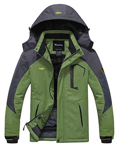 Wantdo giacca uomo da sci in pile inverno impermeabile antivento verde medium