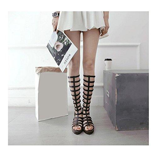 Femmes Sandales spatiales à talons bloc bottes hauteur genou taille disponible 34-43 Noir