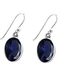 925 Sterling Silver Lapis Lazuli Tear Drop Fishhook Earrings - Oriental Perfection