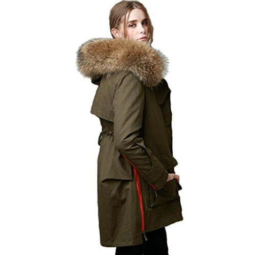 Lea Marie Parka XXL Kragen aus 100% ECHTPELZ ECHTFELL Jacke Mantel Khaki Schwarz Gr. XS-XL (L / 38, Khaki)