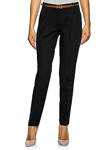 oodji Collection Femme Pantalon Fuselé avec Ceinture, Noir, FR 44 / XL