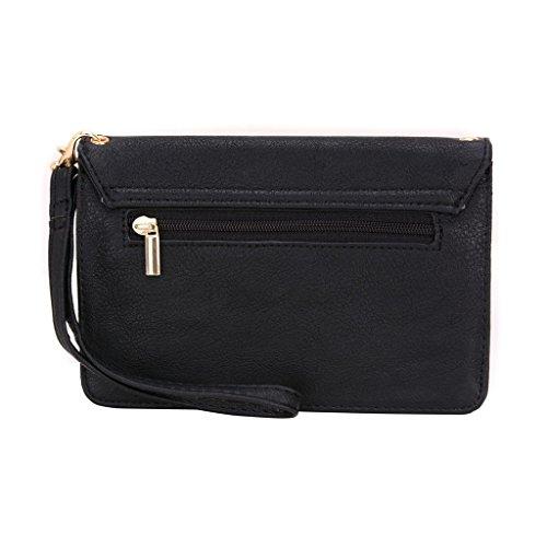 Conze da donna portafoglio tutto borsa con spallacci per Smart Phone per Gionee Elife S7/S5.5/S5.1/e7mini Grigio grigio nero