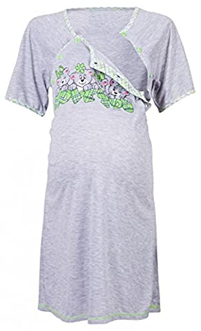 Happy Mama Women's Maternity Hospital Gown Nightie for Labour & Birth. 193p (Green, UK 16)