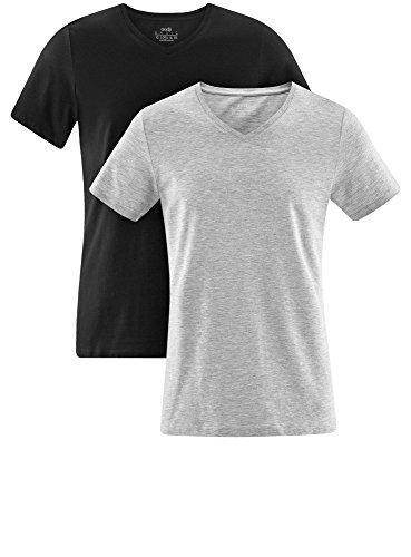 oodji Ultra Herren Tagless T-Shirt mit V-Ausschnitt (2er-Pack) Mehrfarbig (1902N)