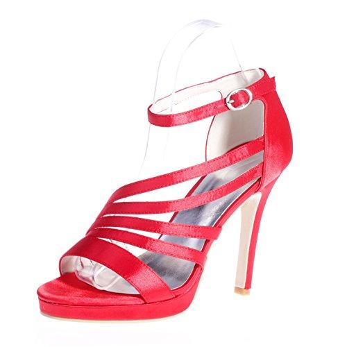 Chalmart Escarpins à bride élégant Sandales à Haut Talon Soirée Chaussures Mariage Vogue Rouge