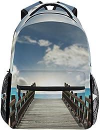 Preisvergleich für COOSUN Brücke in Sea zufällige Rucksack Schultasche Reise Daypack Mehrfarbig