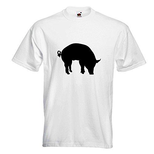 KIWISTAR - Schwein Pig Sau T-Shirt in 15 verschiedenen Farben - Herren Funshirt bedruckt Design Sprüche Spruch Motive Oberteil Baumwolle Print Größe S M L XL XXL Weiß