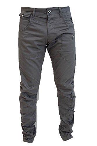 Crosshatch Kractus Jeans Da Uomo Gamba Twisted Multi-tasca Cinche Jeans Aderente Chino - Carbone, Vita 38 regular