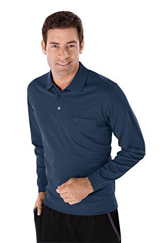 RAGMAN Herren RAGMAN langarm Poloshirt Softknit Schieferblau
