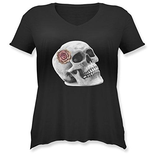 Halloween - Totenkopf Rose Vintage Skull - M (46) - Schwarz - JHK603 - Weit geschnittenes Damen Shirt in großen Größen mit V-Ausschnitt