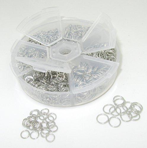 Bastel Express Anneaux de reliure ouverts Couleur platine 4 à 10 mm Dans une boîte en plastique ronde