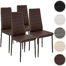 TecTake Set de 4 sillas de comedor 41x45x98,5cm marrón