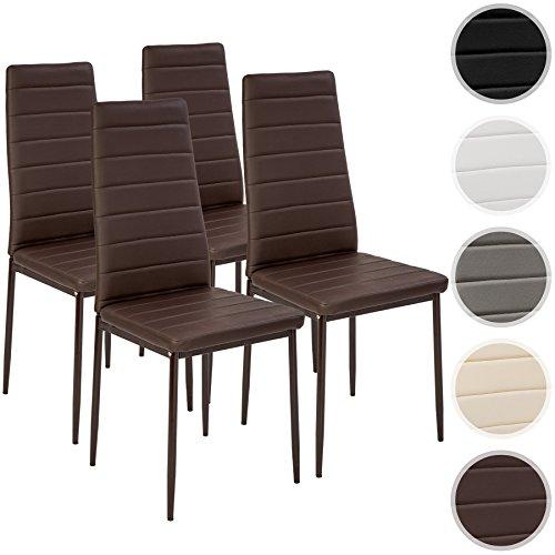 TecTake Set di sedie per sala da pranzo 41x45x98,5cm - disponibile in diversi colori e quantità - (4x Marrone | No. 401844)
