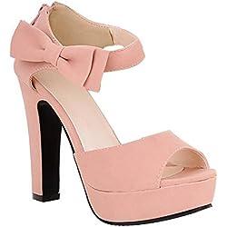 Mine Tom Mujer Chicas Sandalias Elegantes Sandalias De Tacón Alto Con Bowknot Peep Toe Zapatos Rosa 38