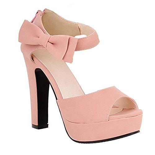 Mine Tom Mujer Chicas Sandalias Elegantes Sandalias De Tacón Alto Con Bowknot Peep Toe Zapatos Rosa 41