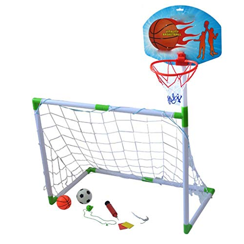 LEOO Basketballstand für Kinder Fußballtor für Basketballspieler Zwei-in-Eins-Set