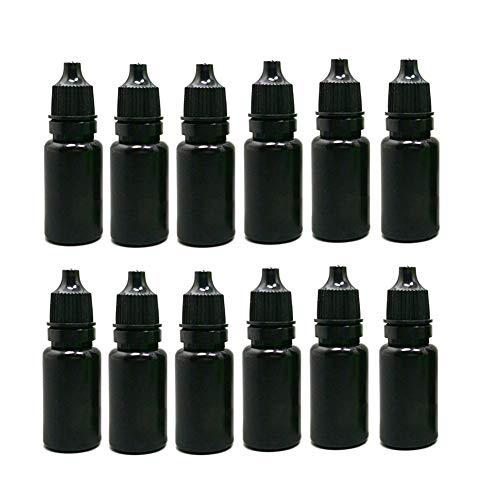 12 STÜCKE 10 ML 0,35 UNZE Leere Nachfüllbare Schwarz Kunststoff Tropfflasche mit Schraubverschluss Tragbare Squeezable Ätherisches Öl Wasser Agent Glas Fläschchen Halter