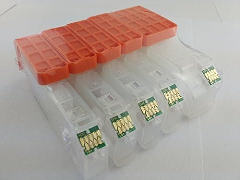 Hemei Lot de 5 cartouches d'encre vides et rechargeables 26XL T2621T263pour Epson XP-720XP-625XP-620XP-520XP-820