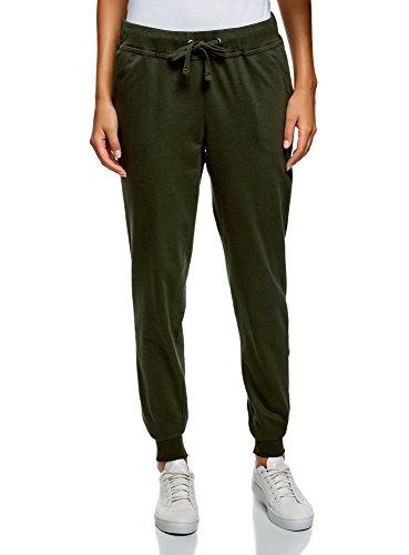 oodji Ultra Mujer Pantalones de Punto con Cordones, Verde, ES 46 / XXL