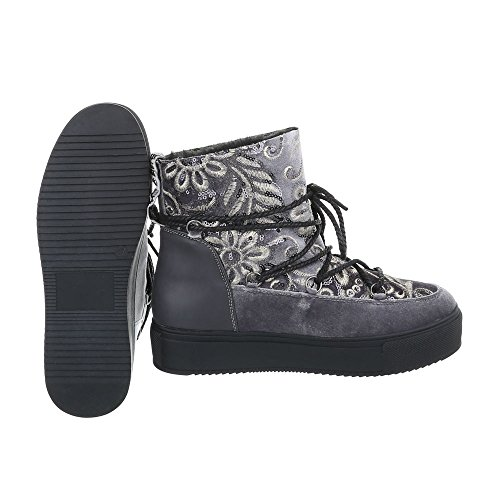 Schnürstiefeletten Damenschuhe Schnürstiefeletten Warm Gefütterte Schnürsenkel Ital-Design Stiefeletten Grau H-1-1