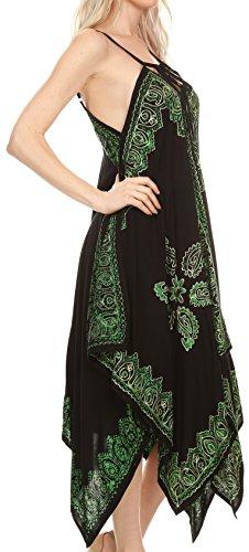 Sakkas Arminat Batik Imprimer sangle réglable brodé Mouchoir Hem Dress Noir / Vert