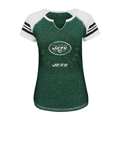 VF LSG NFL Damen More Than Enough V Kurzarm Raglan Split Neck Tee XXL Dark Green Blurry/White/White -