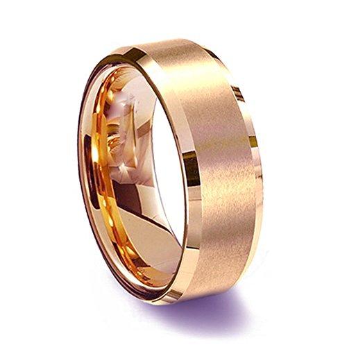 Gemini lui o lei oro rosa Comfort-Fit Beveled Edge Plain wedding Band Ttianium anello di (Titanio 7 Mm Matt)