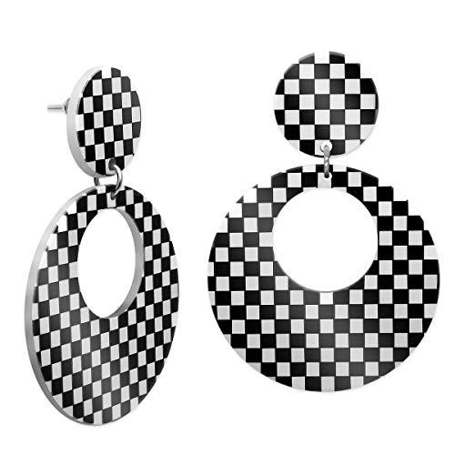 SoulCats® 1 Paar karierte Damen Ohrstecker Loop in schwarz weiß