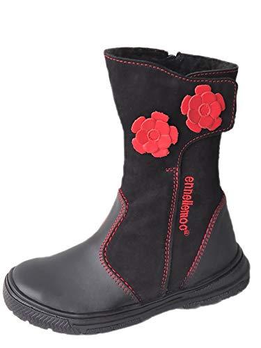 ennellemoo®-Mädchen-Kinder-Stiefel aus echt Leder-Vollleder-Schuhe mit warmen Kunstfell-Reiß + Klettverschluss- Premium Shoes! (35 EU, Schwarz)