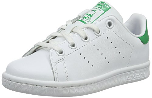 adidas Stan Smith, Baskets Mixte Enfant, Blanc (Footwear White/Footwear White/Green 0), 28 EU