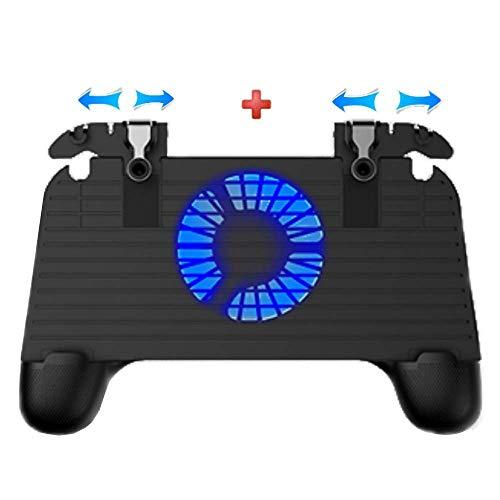 Contrôleur de jeu mobile simple, déclencheurs de jeu de téléphone cellulaire clés de but sensibles, déclencheur de jeu Joystick Gamepad Grip for 4.7-6.5 pouce Smartphone avec ventilateur de refroidiss