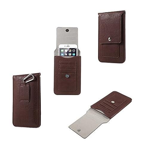 DFV mobile - Étui Verticale Housse Ceinture Boucleen Simili-Cuir Souple et Portefeuille pour => Nokia Lumia 1320 LTE >