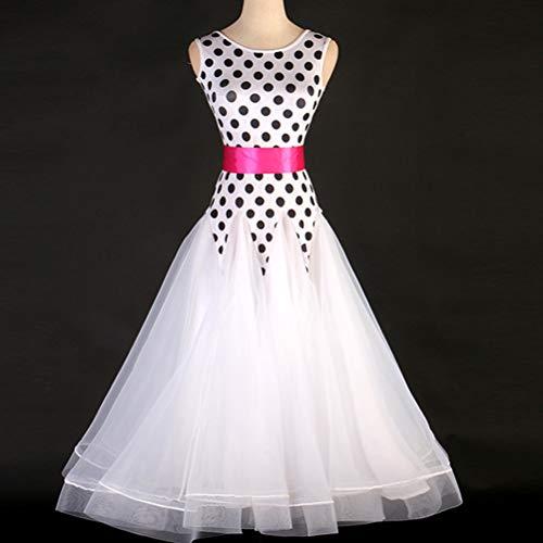Dot Polka Tanz Kostüm - Polka Dot Ballroom Dance Kleid für Damen/Mädchen Ärmellos Rundhals Tanzperformance Kostüm Big Swing Rock Salsa/Tango/Walzer Standard-Tanzabnutzung,Weiß,XXXL