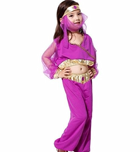 ♛ Taglia M - 4 / 5 anni - Costume Travestimento Carnevale e Halloween da Odalisca Araba Danzatrice del Ventre Colore Viola Bambina