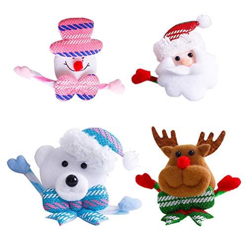 BESTOYARD Weihnachten Brosche Pins LED Licht Blinky Schneemann Weihnachtsmann Rentier Bär Kopf Form Abzeichen Weihnachten Deko 8 Stück