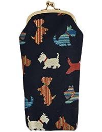 Estuche para gafas Signare en tela de tapiz Terrier escocés