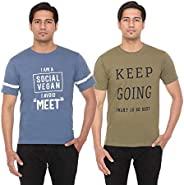 GOSW4G Men's Solid Regular Fit Half Sleeve Cotton T-Shirt (Combo Pack o