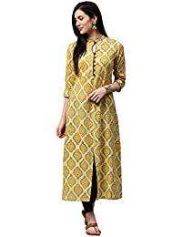"Jaipur Kurti Women Yellow Booti Print A-line With Front Slit 50"" Length Cotton Kurta"