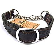 petfun Classic Einzigartiges Design Soft stabiles LEDER mit Edelstahl Kette Martingal verstellbares Halsband, schwarz und braun