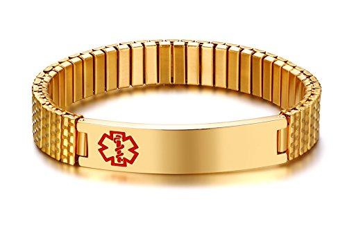 Vnox Maßgeschneiderte Edelstahl ID Stretch Armband Medical Alert Armband Armreif für Männer Frauen Gold,Kostenlose Gravur (Gold-jesus-armband Männer Für)