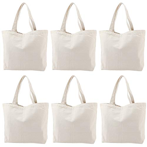 NiceCode Canvas, 6er-Pack, Einkaufstasche mit Griff, blanko, für Partys, Geschenktüten, Naturfarben (Personalisierte Bulk Tragetaschen)