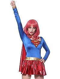 Damen Halloween Kostuem Superheldin Outfit mit Umhang f. Karneval Party Mottoparty Fancy Dress