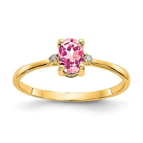 Diamond2Deal Damen-Verlobungsring 14K Gelbgold Diamant und Rosa Turmalin Ring Größe 6(0.276, CT)