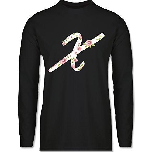 Anfangsbuchstaben - X Rosen - Longsleeve / langärmeliges T-Shirt für Herren Schwarz