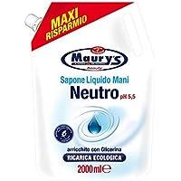 Maury's Sapone Liquido Mani Ricarica Ecologica da 2 Lt Neutro Ph 5.5 MAXI RISPARMIO