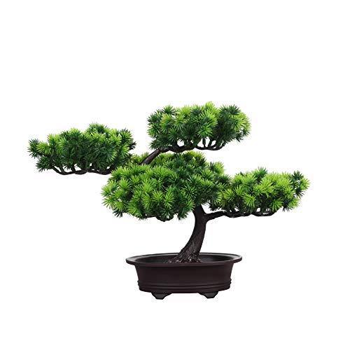 künstliche Bonsai Künstliche Bonsai-Baum Pflanzen Dekoration kunstpflanzen im Topf,Kunstpflanze Pflanze,Japanischer Feng Shui Pinien,deko Wohnzimmer,Kunstbaum,Höhe ca. 26 cm,GrüN